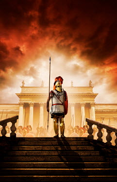 Stephen Mulcahey ROMAN ARMY WITH SPEARS OUTSIDE PALACE WITH RED SKY