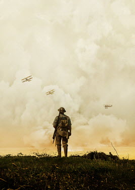 Stephen Mulcahey WW1 SOLDIER WATCHING BIPLANES AND BOMBING
