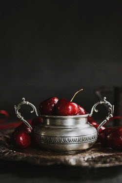 Isabelle Lafrance RED CHERRIES IN SILVER DISH