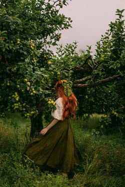 Rebecca Stice WOMAN WITH RED HAIR STANDING BY APPLE TREES
