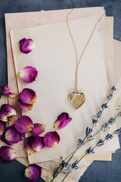 Isabelle Lafrance GOLD LOCKET WITH PAPER PETALS AND LAVENDER