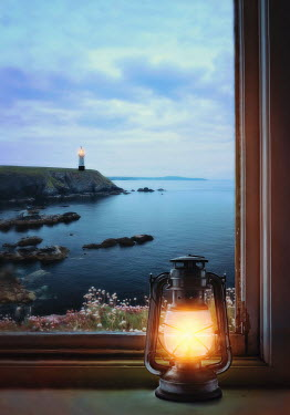 Lyn Randle WINDOW WITH GLOWING LANTERN AND LIGHTHOUSE BY SEA