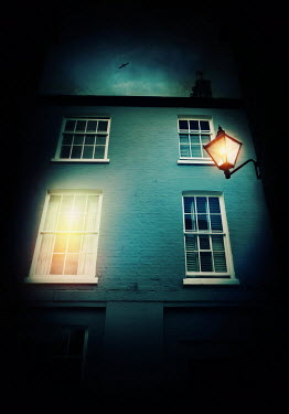Lyn Randle HISTORICAL HOUSE WITH SHINING LIGHT AND LANTERN