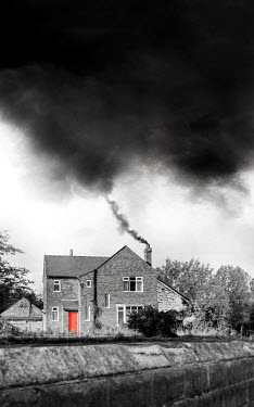 Stephen Mulcahey HOUSE WITH RED DOOR AND SMOKING CHIMNEY