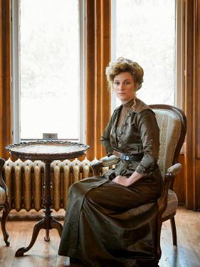Elisabeth Ansley EDWARDIAN BLONDE WOMAN SITTING BY WINDOW
