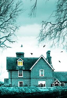 Stephen Mulcahey HOUSE IN WINTER WITH LIGHT IN BEDROOM WINDOW
