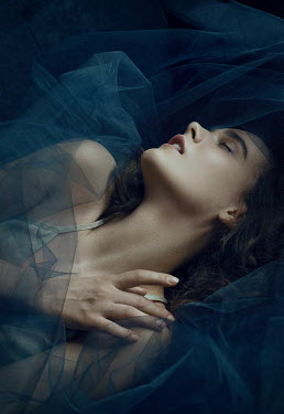 Natasha Yankelevich WOMAN LYING SLEEPING WITH BLUE CHIFFON