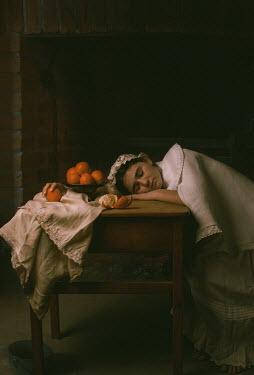 Robin Macmillan HISTORICAL MAID SLEEPING ON TABLE WITH ORANGES