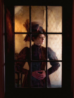 Elisabeth Ansley HISTORICAL WOMAN INDOORS BY WINDOW AT NIGHT