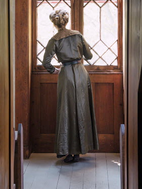 Elisabeth Ansley HISTORICAL WOMAN STANDING BY WINDOW WATCHING