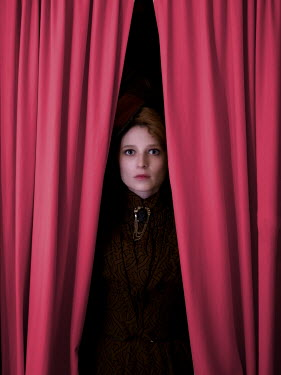 Elisabeth Ansley HISTORICAL WOMAN BEHIND CURTAINS STARING