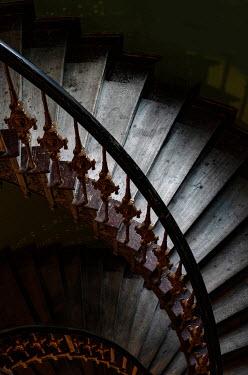 Jaroslaw Blaminsky HISTORICAL WOODEN AND METAL STAIRCASE IN SHADOW