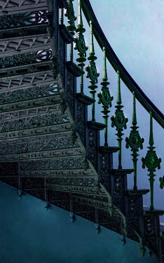 Jaroslaw Blaminsky ORNATE GREEN METAL STAIRCASE