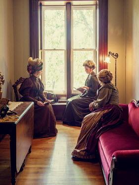 Elisabeth Ansley THREE HISTORICAL WOMEN SITTING IN HOUSE READING