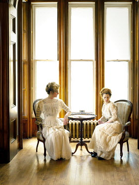 Elisabeth Ansley TWO HISTORICAL WOMEN SITTING IN HOUSE BY WINDOWS