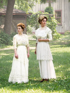Elisabeth Ansley TWO HISTORICAL WOMEN IN WHITE IN GARDEN