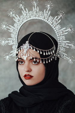 Jovana Rikalo WOMAN WITH SILVER CROWN AND FOREHEAD JEWELLERY