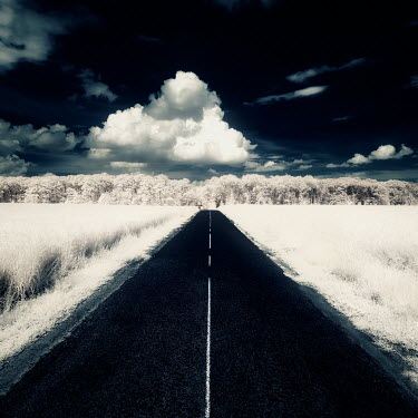 David Keochkerian EMPTY COUNTRY ROAD WITH CLOUDS