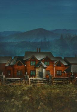 Svitozar Bilorusov ROW OF WOODEN HOUSES WITH MOUNTAINS