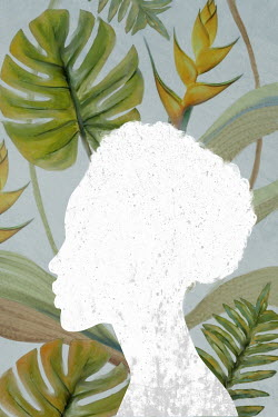 Mark Owen WHITE SILHOUETTE OF WOMAN WITH LEAVES AND FLOWERS