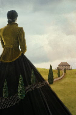 Mark Owen WOMAN WITH EMBROIDERED SKIRT WATCHING PATH AND HOUSE
