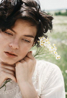Svitozar Bilorusov DAYDREAMING GIRL FLOWERS IN SUMMERY MEADOW
