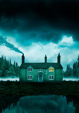 Stephen Mulcahey COTTAGE WITH SMOKING CHIMNEY AND BEDROOM LIGHT