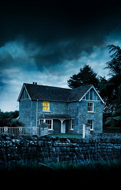 Stephen Mulcahey STONE HOUSE AT DUSK WITH BEDROOM LIGHT