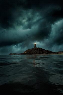 Nic Skerten LIGHTHOUSE SHINING AT NIGHT BY SEA