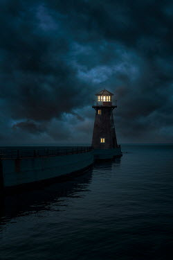 Nic Skerten LIGHTHOUSE AND JETTY SHINING AT NIGHT