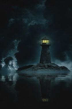 Nic Skerten LIGHTHOUSE ON ISLAND SHINING AT NIGHT