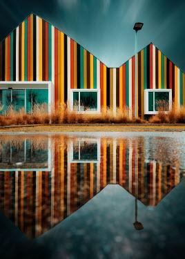David Keochkerian STRIPY HOUSE REFLECTED IN LAKE