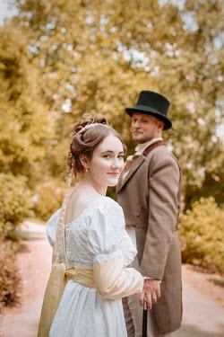 Shelley Richmond HAPPY REGENCY COUPLE ON GARDEN PATH