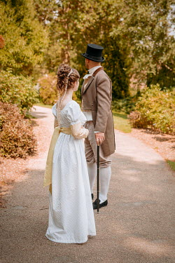 Shelley Richmond REGENCY COUPLE STANDING ON GARDEN PATH