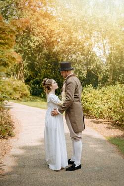 Shelley Richmond REGENCY COUPLE EMBRACING ON GARDEN PATH