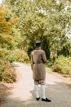Shelley Richmond REGENCY MAN WITH HAT AND CANE ON GARDEN PATH