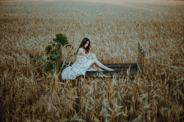 Katerina Klio WOMAN ON BED WITH VINE IN WHEAT FIELD