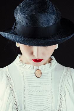 Magdalena Russocka close up of retro woman wearing hat