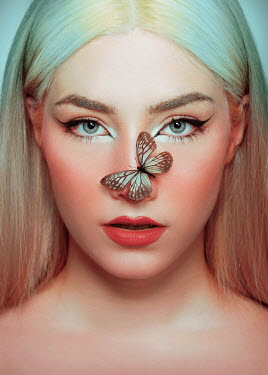 Tijana Moraca BLONDE WOMAN WITH BUTTERFLY ON NOSE