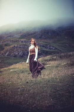 Marie Carr HISTORICAL WOMAN WALKING ON MISTY MOORLAND