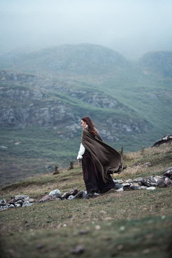 Marie Carr HISTORICAL WOMAN IN CAPE ON MISTY MOORLAND