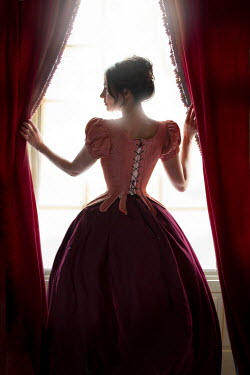 Lee Avison historical woman with bodice and skirt at the window