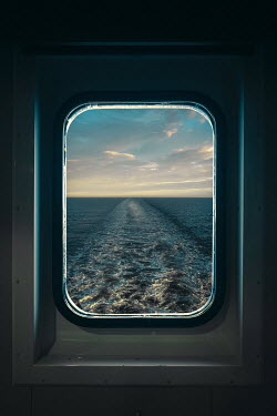 Magdalena Russocka window of cruise boat with view of ship wake  from inside