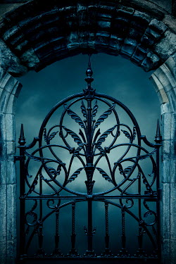 Miguel Sobreira Wrought iron gate and stone arch