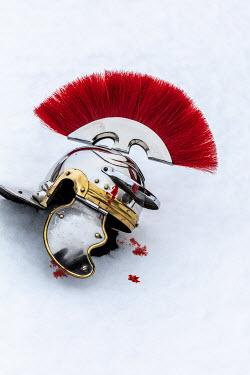 Stephen Mulcahey Roman centurion helmet and blood in snow