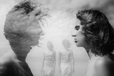 Ekaterina Pavlova Double exposure of young men and clouds