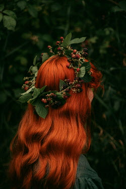 Rebecca Stice WOMAN WITH RED HAIR AND GARLAND OF BERRIES