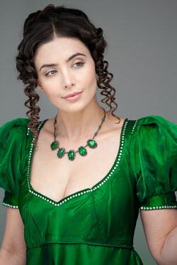 Lee Avison portrait of a beautiful regency woman in green