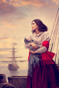 Lee Avison historical woman with baby in the harbour with sailing ship