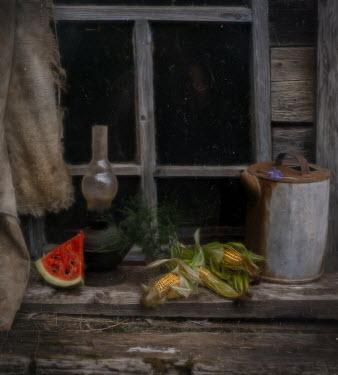 Andreeva Svoboda Watermelon and corn on window sill